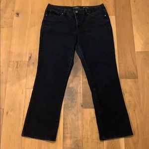 Soft and flattering boot cut dark wash jeans 14s